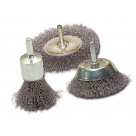 Lot de 3 brosses sur tige Leman