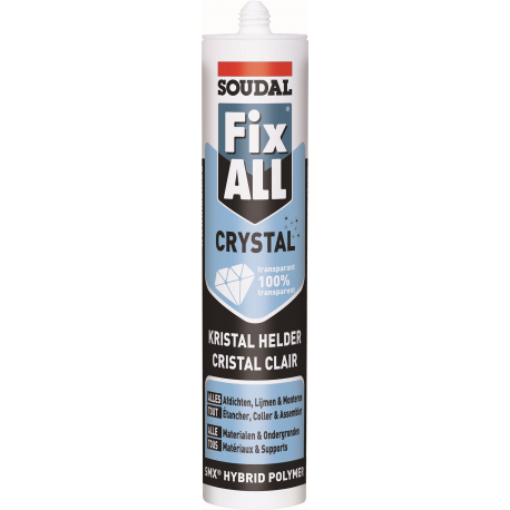 mastic silicone transparent soudal fix all crystal mastic pour le verre colle pvc colle pour. Black Bedroom Furniture Sets. Home Design Ideas